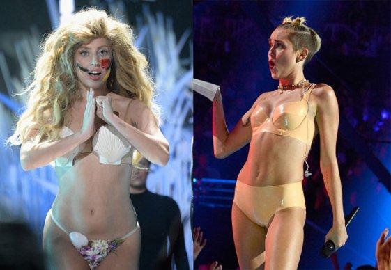 Lady Gaga & Miley Cyrus bei den 2013er VMAs (Fotos: Jeff Kravitz/FilmMagic for MTV; Kevin Mazur/WireImage for MTV)